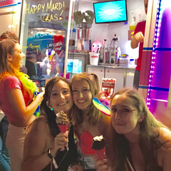 Party time at Mardi Gras in front of the classic Soft Serve Ice Cream van