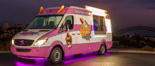 Sydney's best ice cream van for hire, in evening under the Harbour Bridge